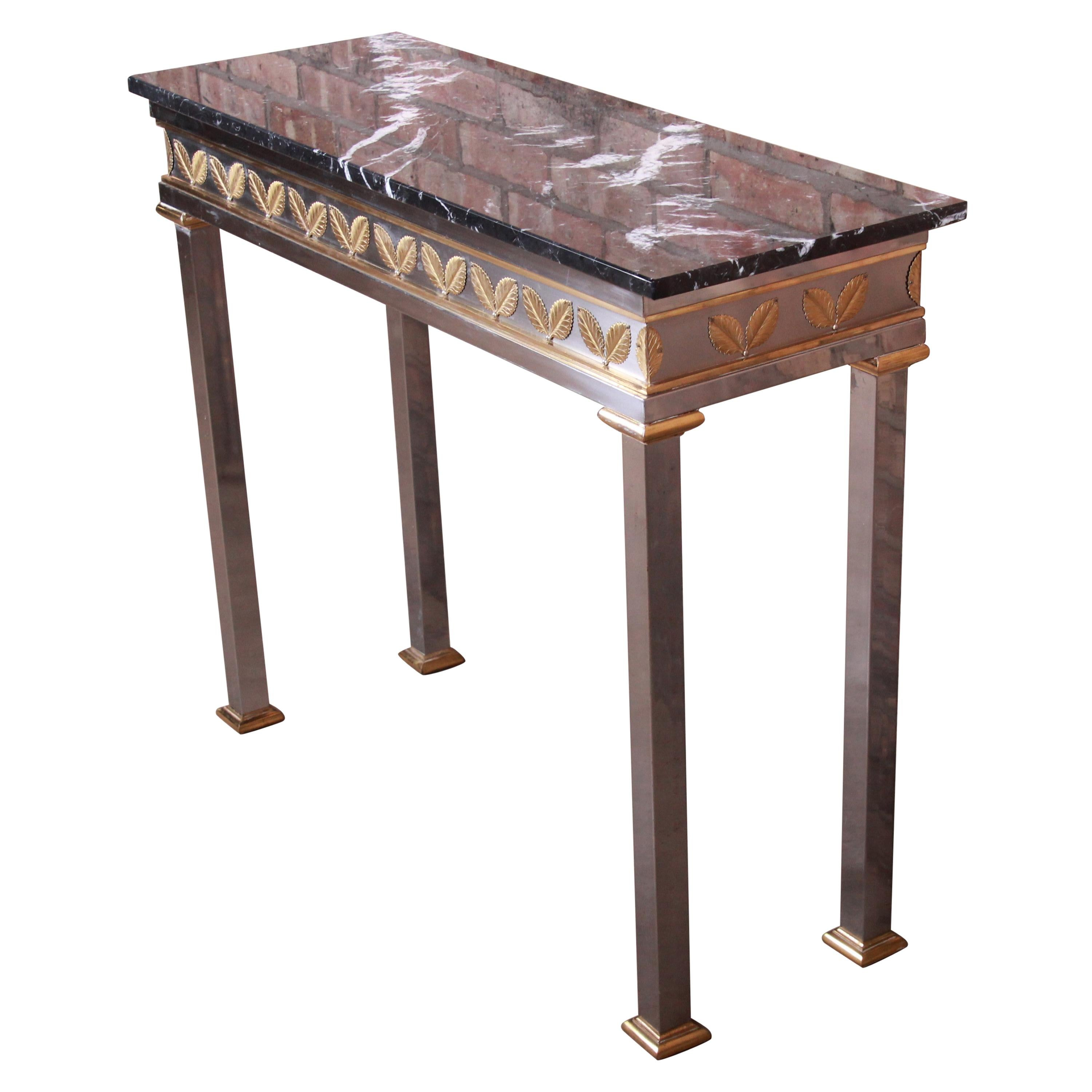Italian Modern Console Table in Chrome, Brass, and Marble
