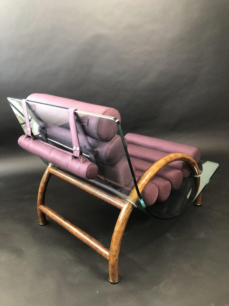 Mid-20th Century Italian Modern Curved Glass Chair, Fabio Lenci 'Attributed' For Sale