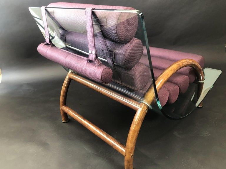 Italian Modern Curved Glass Chair, Fabio Lenci 'Attributed' For Sale 1