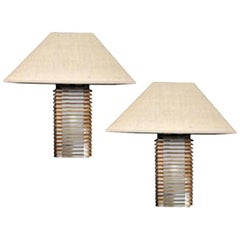 Italian Modern Design Pair of Wooden and Glass Table Lamps with Linen Lampshades