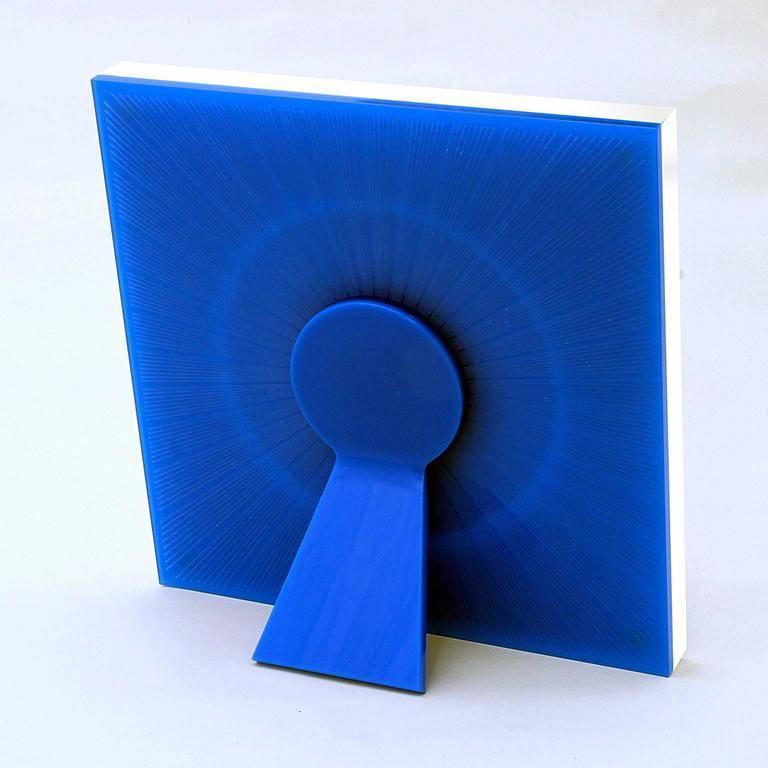 Italian Modern Design Picture Frame in Blue Plexiglass, Sharing Blue For Sale 1