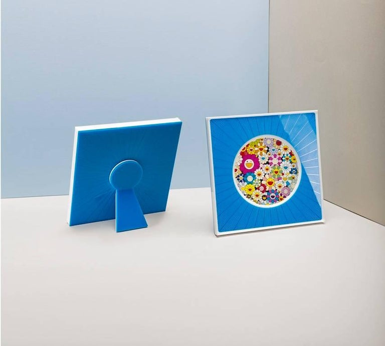 Italian Modern Design Picture Frame in Blue Plexiglass, Sharing Blue For Sale 2