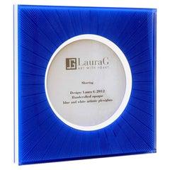 Italian Modern Design Picture Frame in Blue Plexiglass, Sharing Blue