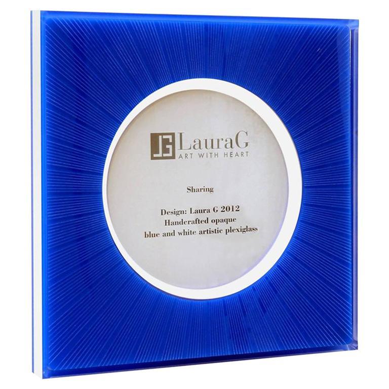 Italian Modern Design Picture Frame in Blue Plexiglass, Sharing Blue For Sale