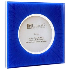 Italian Modern Design Picture Frame in Blue Plexiglass, Sharing Blue