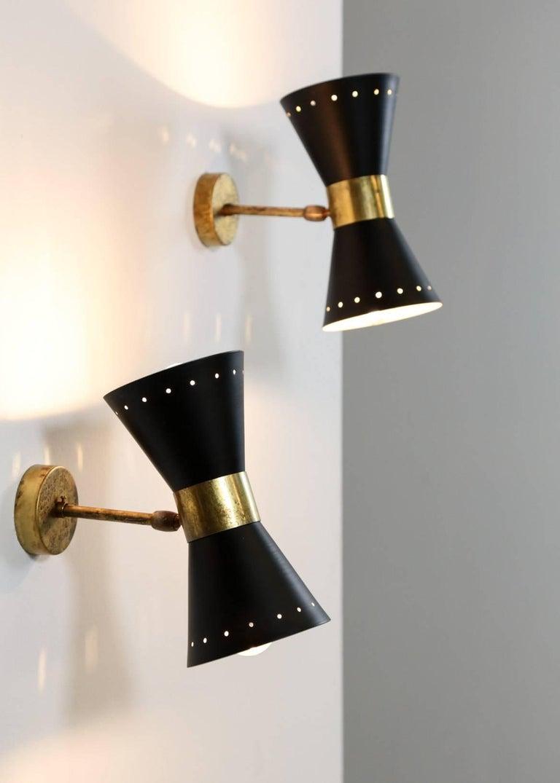 Mid-Century Modern Italian Modern Diabolo Sconces Stilnovo Style, Wall Light For Sale