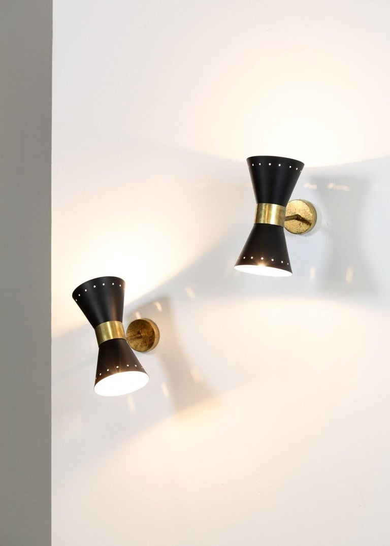 Italian Modern Diabolo Sconces Stilnovo Style, Wall Light In Excellent Condition For Sale In Lyon, FR