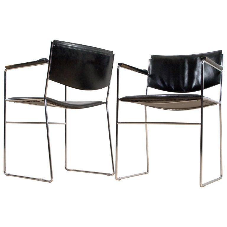 Italian Modern Dining Room Set in Black Leather and Chromed Steel, 1960s For Sale