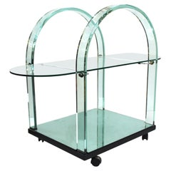 Italian Modern FIAM Curved Glass and Mirror Bar Cart