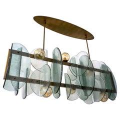 Italian Modern Fontana Arte Style Aqua Murano Glass Geometric Bronze Chandelier