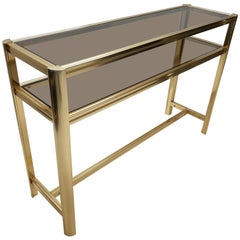 Italian Modern Gilt Brass Two Tiers Side Table with Smoked Glass, 1980s