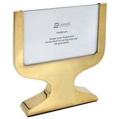 Italian Modern Gilt Silver Double Picture Frame, Equilibrium Gold