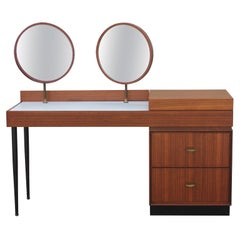 Italian Modern Gio Ponti Style Vanity with Articulated Circular Mirrors