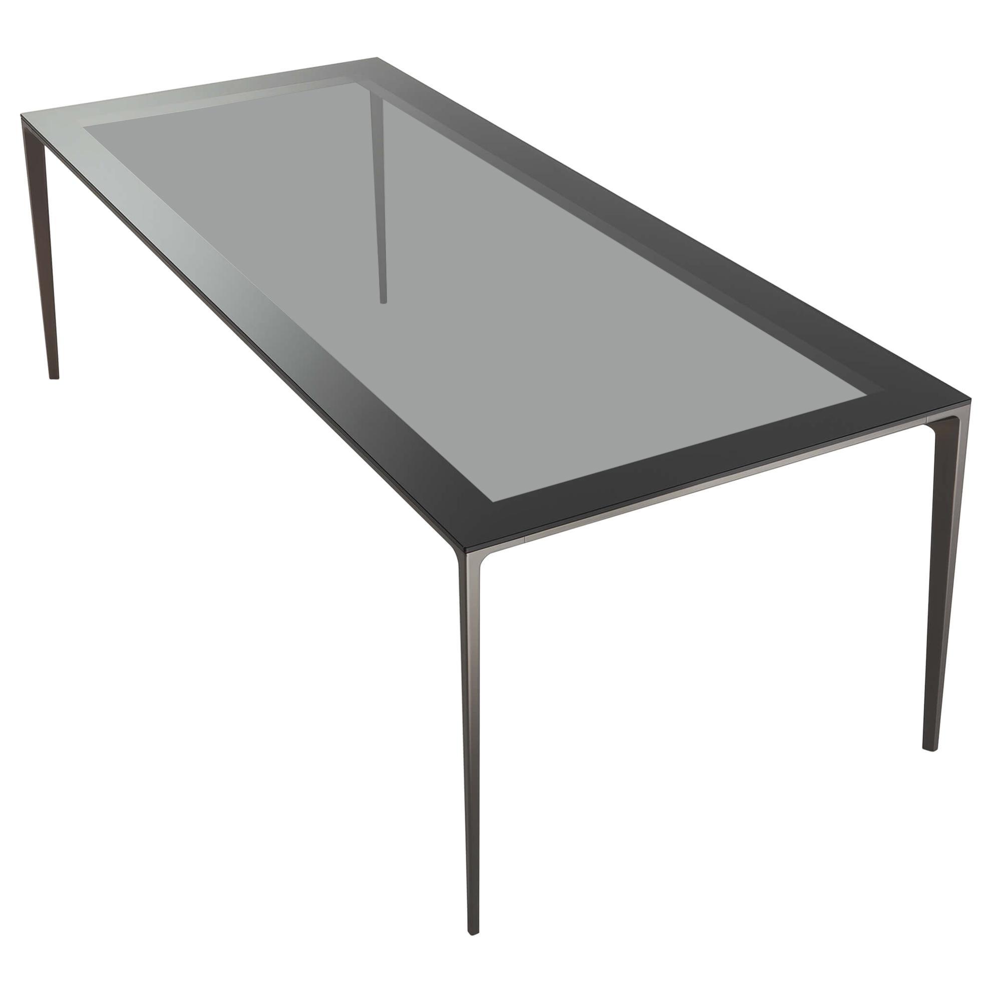 Italian Modern Glass and Aluminium Rectangular Table