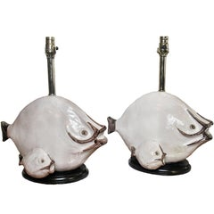 Italian Modern Glazed Ceramic Fish Table Lamps, Ivo De Santis, 1960s