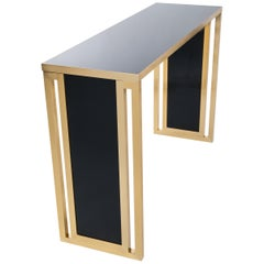 Italian Modern Gold and Black Brass Console Table by Willy Rizzo for Mario Sabot