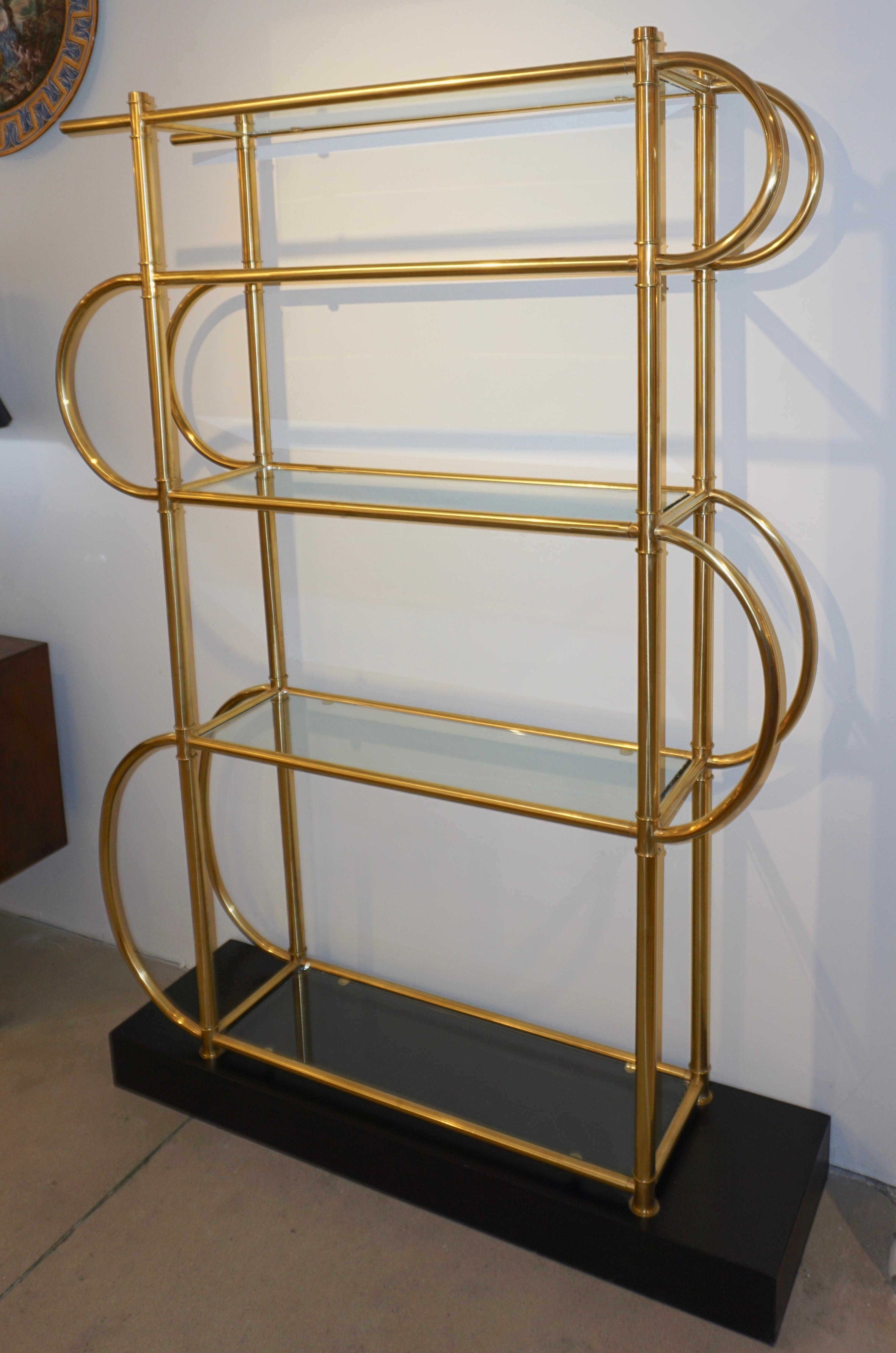 Italian Modern Gold Brass Tubular Shelving Unit Etagere On Black Lacquered Base