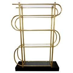 Italian Modern Gold Brass Tubular Shelving Unit Étagère on Black Lacquered Base