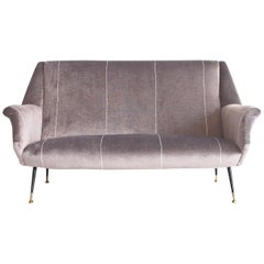 Italian Modern Grey Velvet Sofa with Black Lacquered Brass Feet