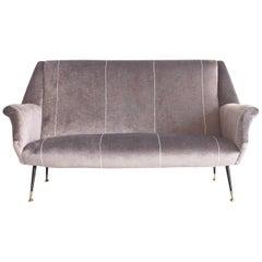 Italian Modern Grey Velvet Sofa with Black Lacquered Brass Feet