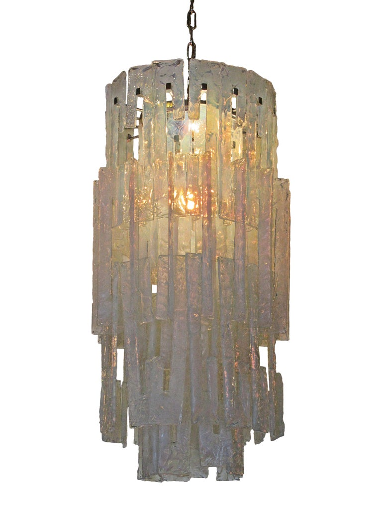 Mid-20th Century Italian Modern Hand Blown Glass Chandelier, Mazzega, 1960s For Sale