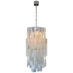 Italian Modern Hand Blown Glass Chandelier, Mazzega, 1960s