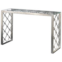 Italian Modern Industrial Design Criss Cross Fretwork Iron Console / Entry Table