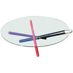 Italian Modern Jacks Base Round Glass Coffee Table