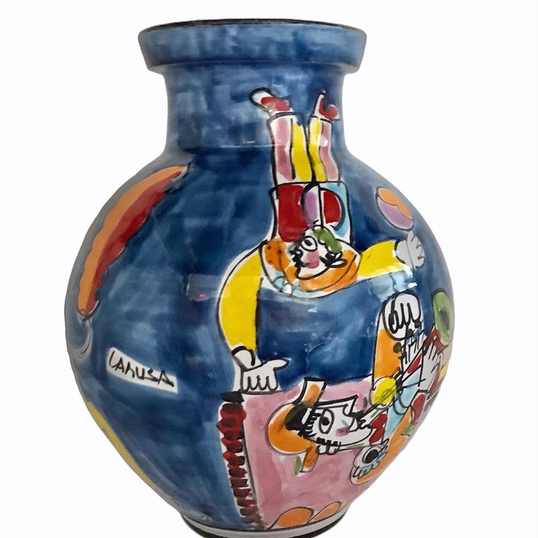 Mid-Century Modern Italian Modern La Musa Colorful Ceramic Floor Vase Carnevale Sicily, 1970s For Sale