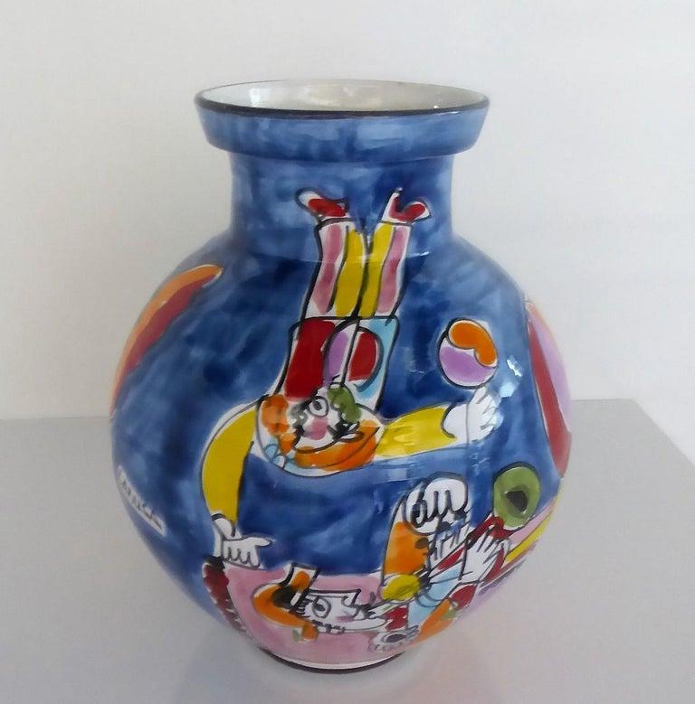 Italian Modern La Musa Colorful Ceramic Floor Vase Carnevale Sicily, 1970s In Good Condition For Sale In Miami, FL