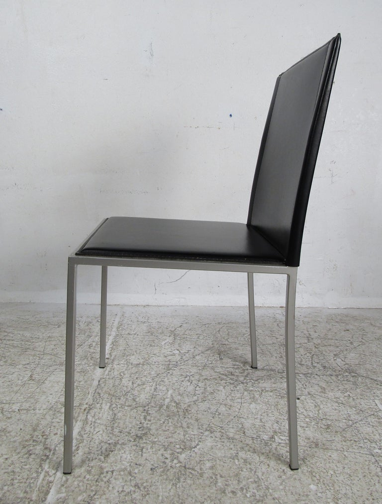 Italian Modern Leather Dining Chairs For Sale 5