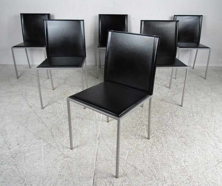 Mid-20th Century Italian Modern Leather Dining Chairs For Sale
