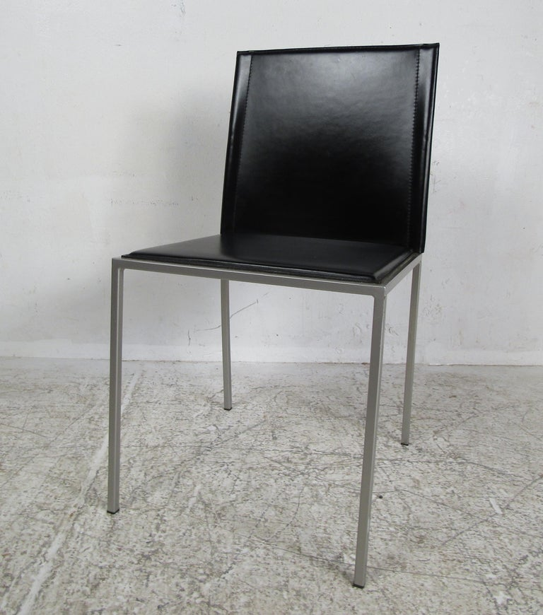 Italian Modern Leather Dining Chairs For Sale 3