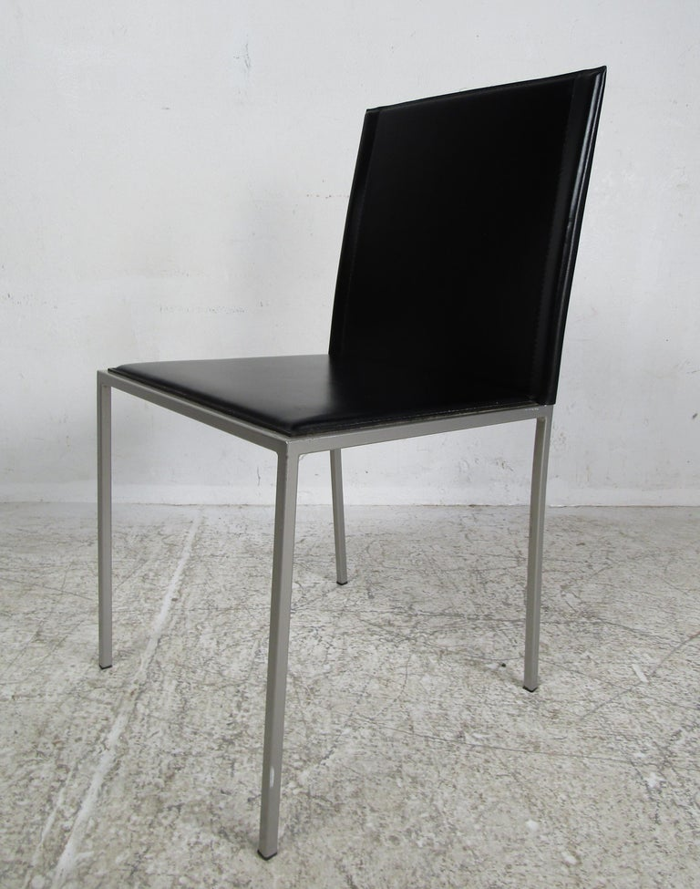 Italian Modern Leather Dining Chairs For Sale 4