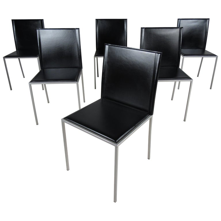 Italian Modern Leather Dining Chairs For Sale