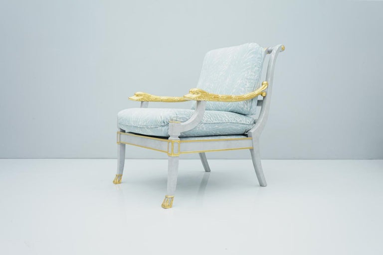Italian Modern Light Blue Lounge Chair StyleArte, 1990s For Sale 8