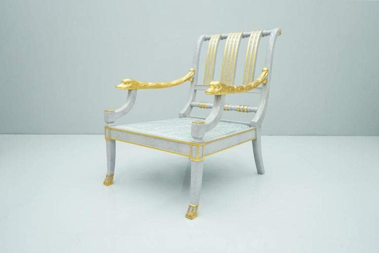 Gold Plate Italian Modern Light Blue Lounge Chair StyleArte, 1990s For Sale