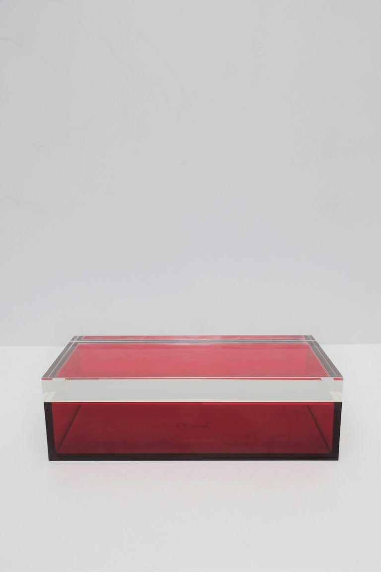 Postmodern Italian Lucite Red Designer Jewelry Box by Albrizzi  4