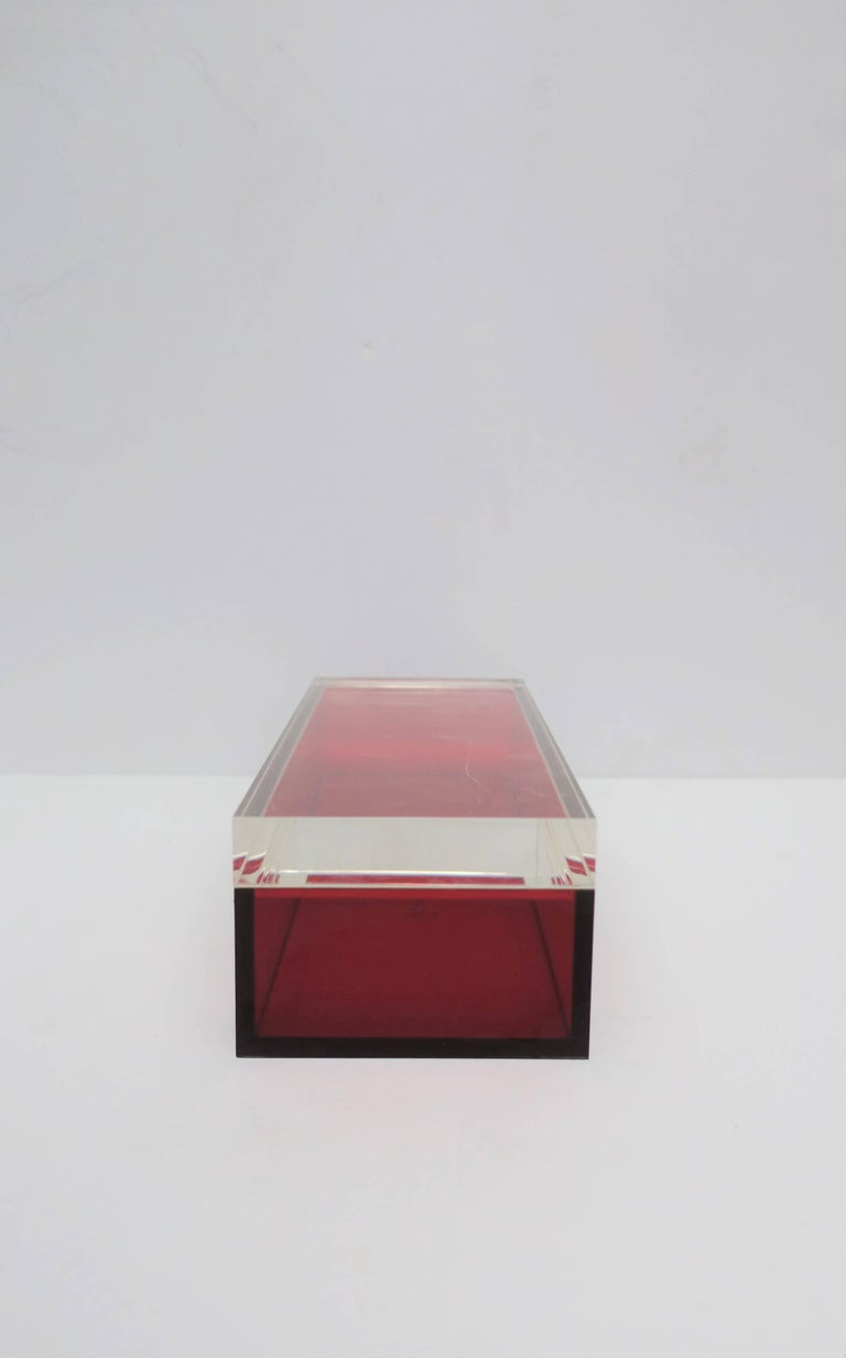 Postmodern Italian Lucite Red Designer Jewelry Box by Albrizzi  5