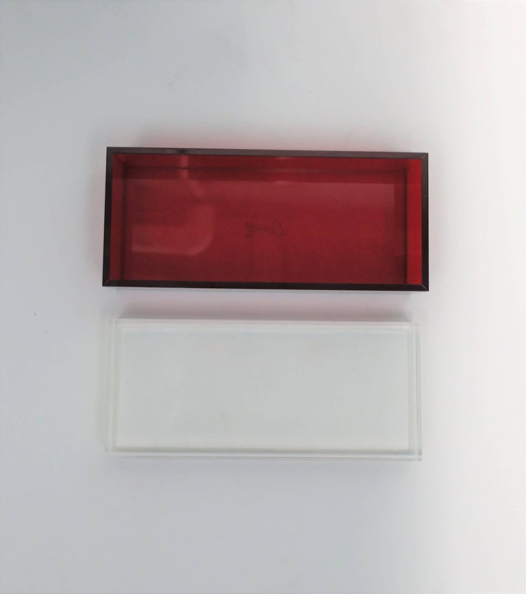 Postmodern Italian Lucite Red Designer Jewelry Box by Albrizzi  6