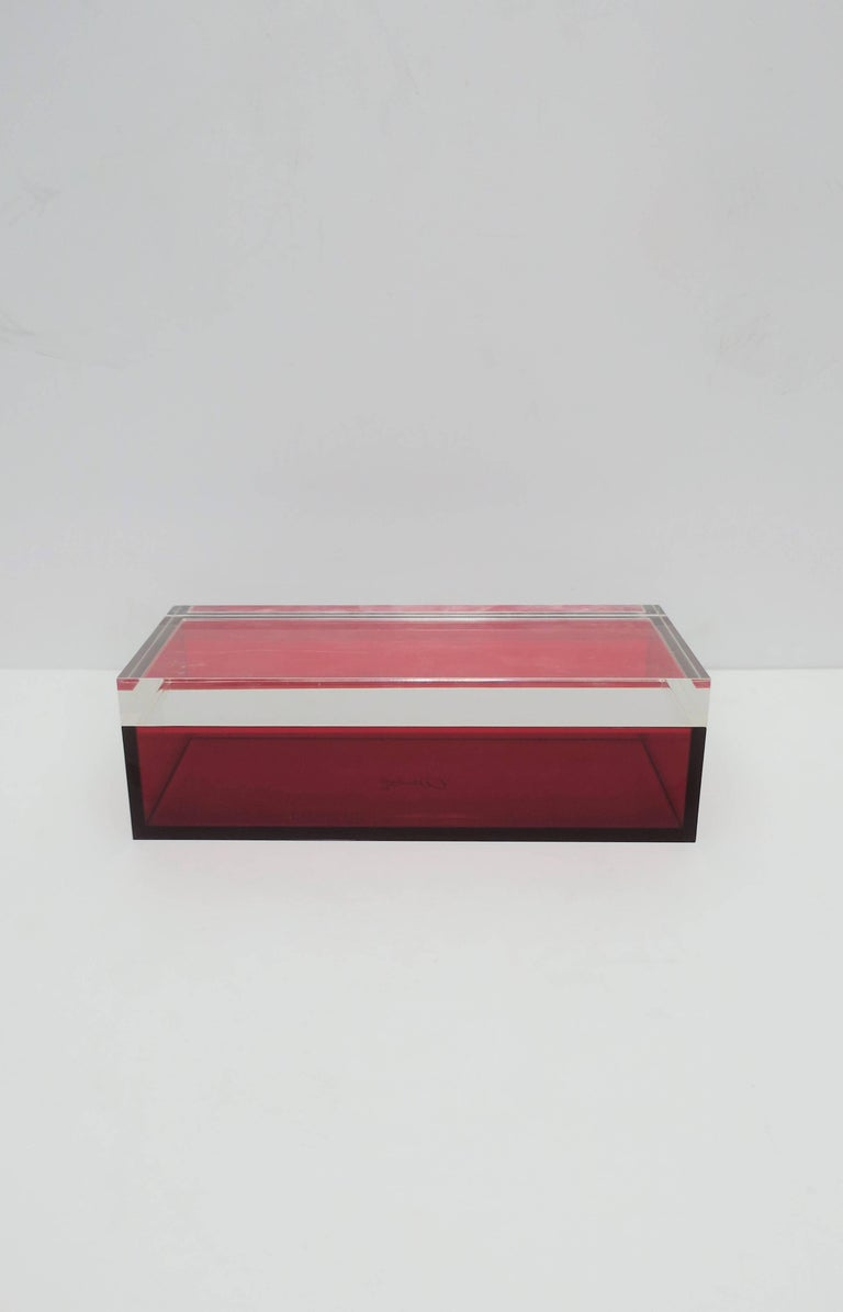 Post-Modern Postmodern Italian Lucite Red Designer Jewelry Box by Albrizzi