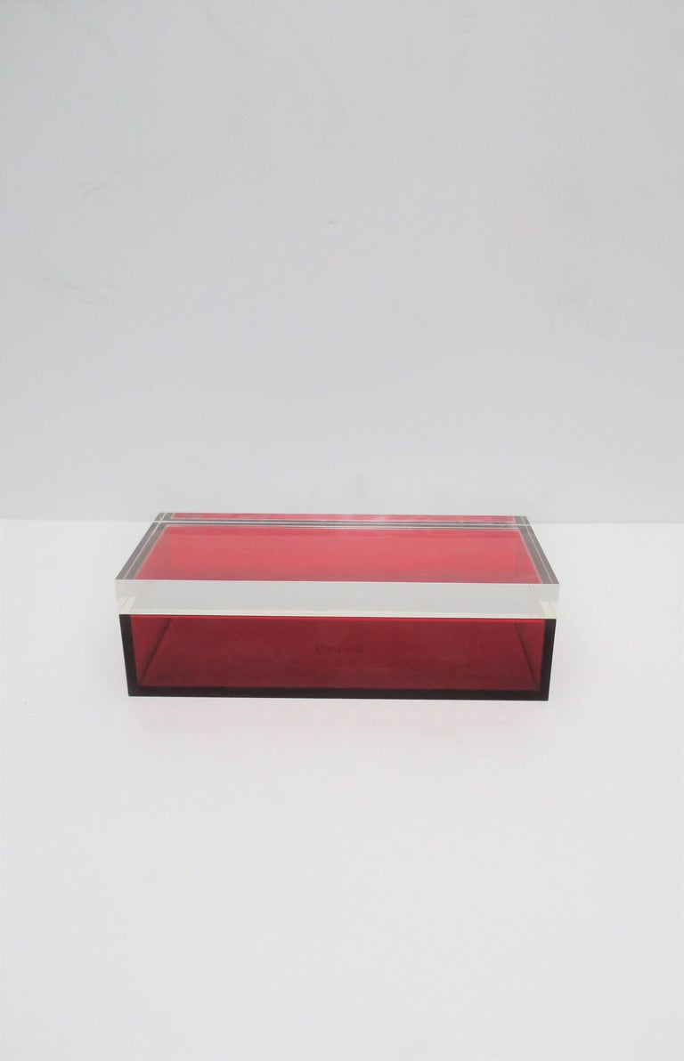 Contemporary Postmodern Italian Lucite Red Designer Jewelry Box by Albrizzi