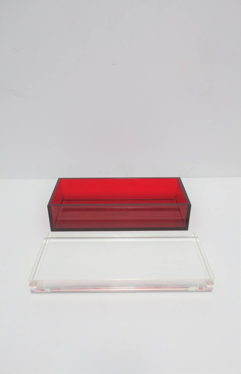 Postmodern Italian Lucite Red Designer Jewelry Box by Albrizzi  2