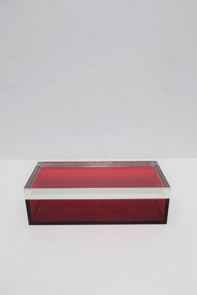 Postmodern Italian Lucite Red Designer Jewelry Box by Albrizzi  3