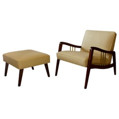 Italian Modern Mahogany and Brass Lounge Chair and Ottoman, Dassi