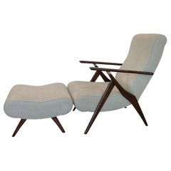 Italian Modern Mahogany and Brass Reclining Armchair and Ottoman, Dassi