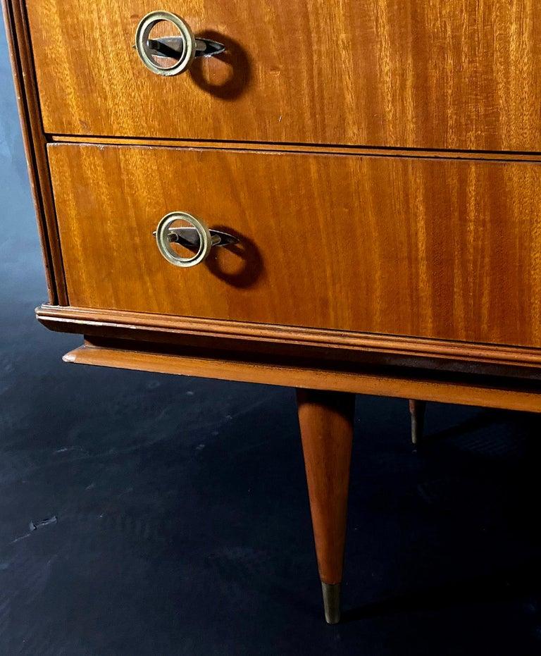 Italian Modern Mahogany and Bronze 6 Drawer Chest, Vittorio Dassi For Sale 3