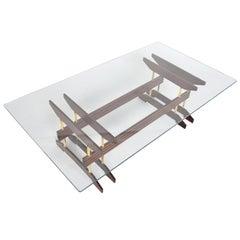Italian Modern Mahogany and Glass Top Coffee Table