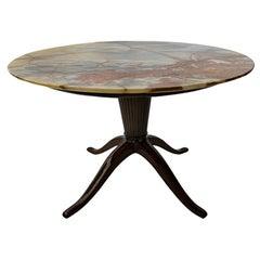 Italian Modern Mahogany and Onyx Top  Occasional Table, Paolo Buffa