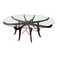 Italian Modern Mahogany, Steel and Glass Coffee Table, Attrib. to Carlo de Carli